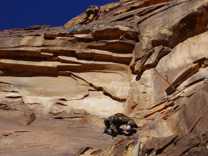 Just below the 11b crux on pitch two