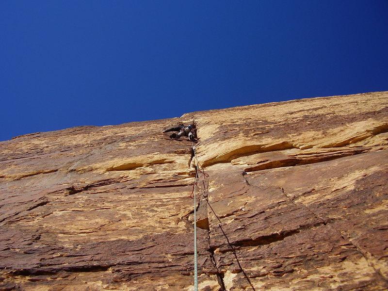 Chris leads picth 5 on levitation 29. 11c