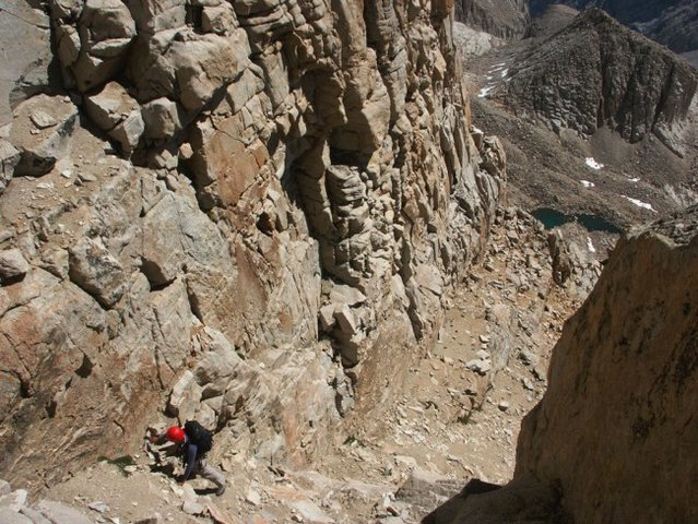 Etsuko is in the sandy gully on the South East face of Mt. Muir - July 24, 2004
