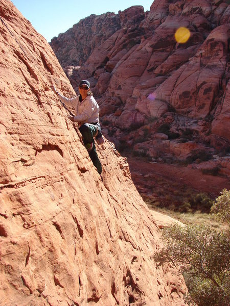 Climbing unnamed TR on Cowlick Crag.