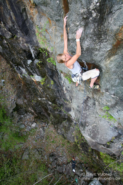 Annika Frodi-Lundgren on Collateral Daveage, 5.11a Bolton Quarry.