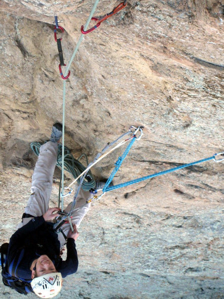 "Brian at the now ""hanging"" belay at the base of P-Crack."