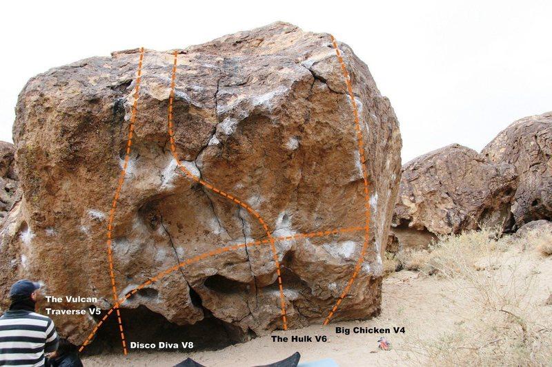'Happy Boulder', south face topo