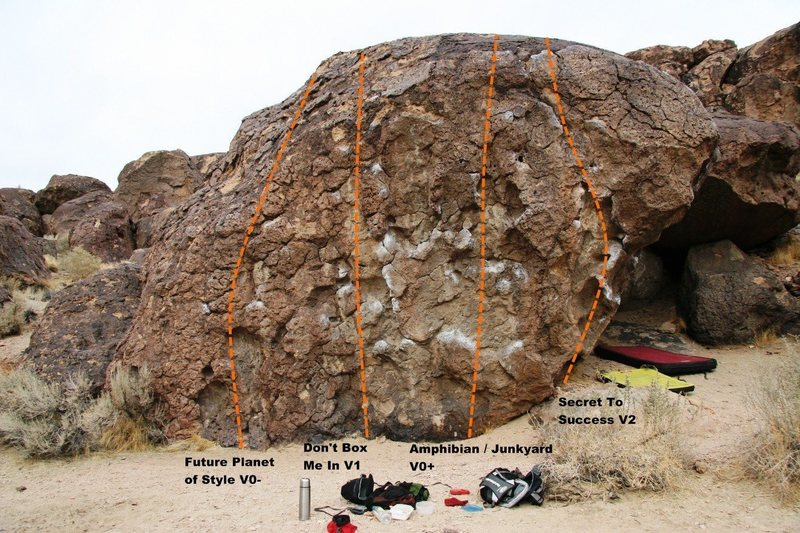 'Slight Inducement Boulder', southwest face topo
