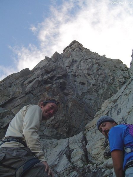 Myself and joe mucci, looking at the camera, with the camera looking up the route. photo by some guy named dave, we never liked him all that much....