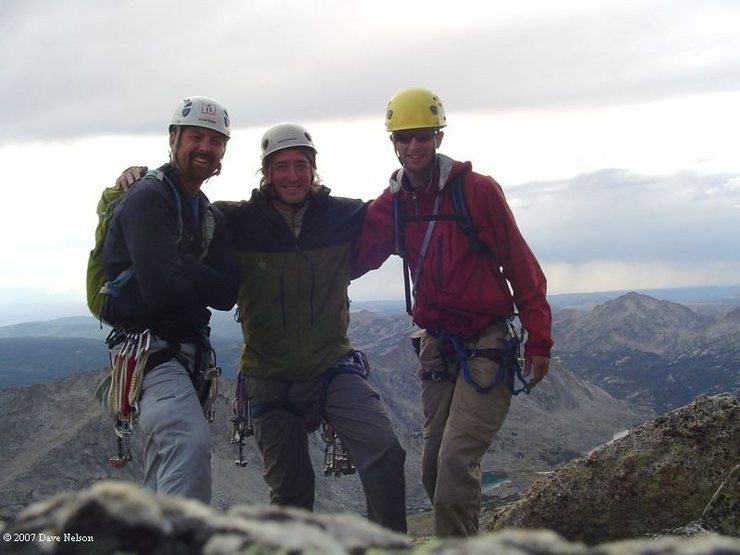 The three of us on top, myself, dave and joe.  You can see the nasty weather rolling in to catch us on the way down.