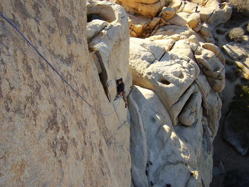Luke climbs the lower part of Huevos