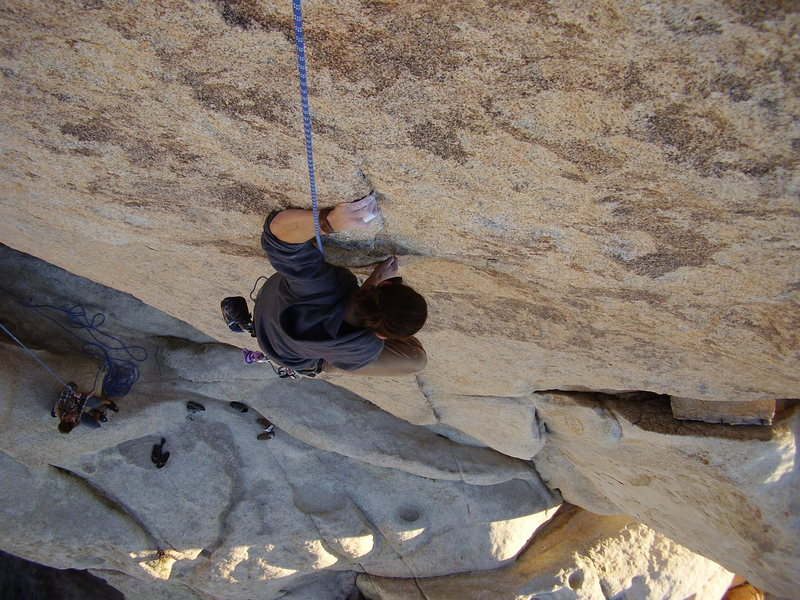 Nearing the crux section on Huevos