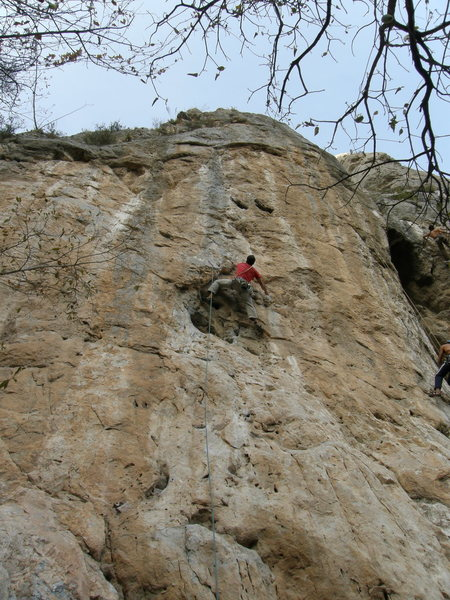 Michiel leading Pangea. This route has great moves on beautiful rock.