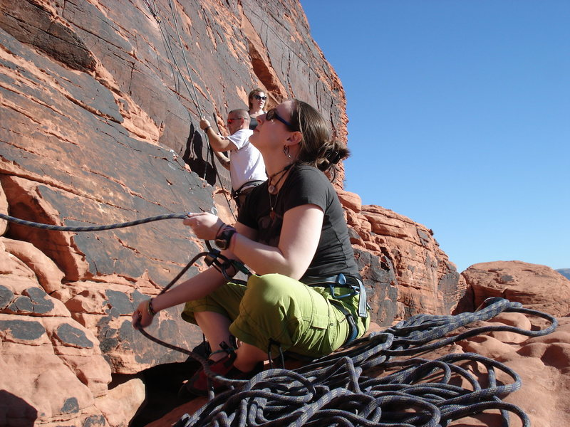 My wife Nicole belaying me at Red Rocks in Jan. 08...