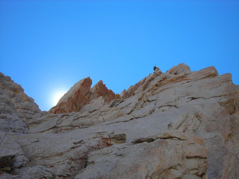 Orange dihedral pitch on East Buttress, Mt Whitney. Photo courtesy Bill McConachie