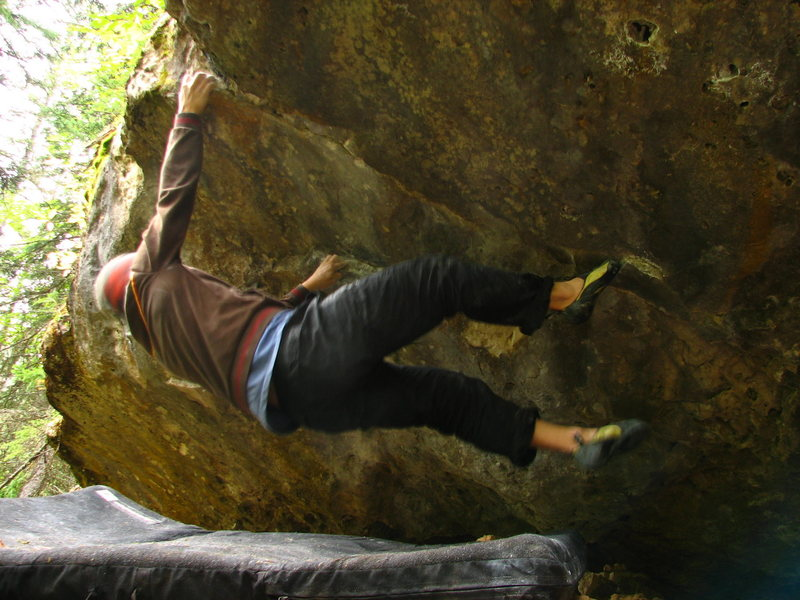 On one of the crux exit moves