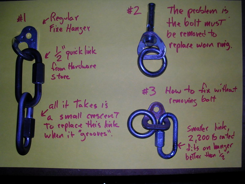 #1 shows the simple set-up that is bomber and easily replaced without removing the bolt.  <br> <br> #2 shows the problem.  Sure a single rap hanger is cheaper, but what about the future?  Removing bolts weakens them.  I've broken several unscrewing them. <br> <br> #3 how anyone can fix a worn rap hanger.  The fatter, stronger, quick links in #1 are a tight fit.