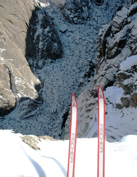 Looking down to the base of the Cruise gully from the South Rim.<br> <br> - or -<br> <br> Contemplating the first ski descent of Astro Dog.