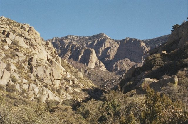 Near the mouth of Domingo Baca Canyon.