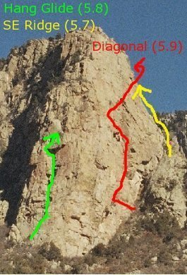 A few routes shown on the south end of Ego Boost.  The south end is also known as the south face amphitheatre due to the close proximity of the tram.