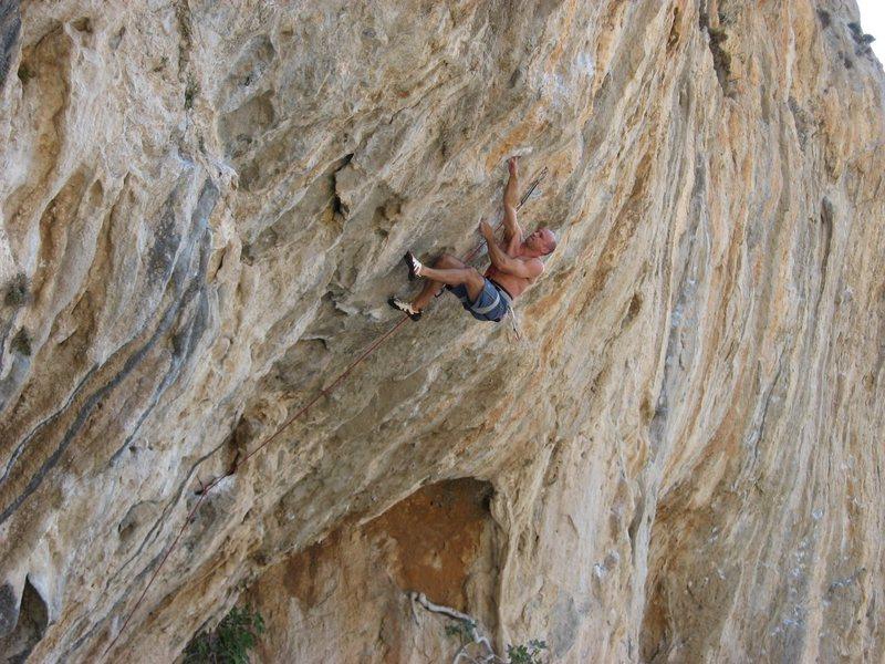 Mike enjoying a great sport climb at Kalymnos.
