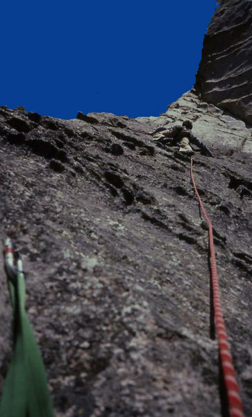 leading up to the arete on the 3rd pitch