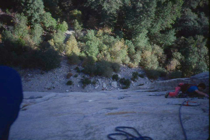 looking down from the belay on p3