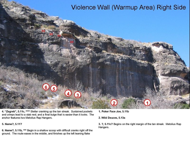 The right half of the Violince Wall.  The lower bit of the wall is obscured.  The routes described are the routes I've done.