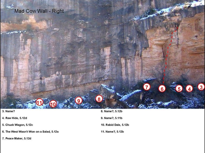 The right end of the Mad Cow Wall.  Routes 1 & 2 are right of the cave on the right end of the photo.  Route #4 is rumored to be especially good.