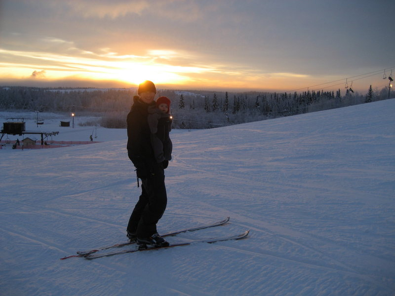 Daddy and Daughter at Birch Hill, Fairbanks AK, Jan 08'