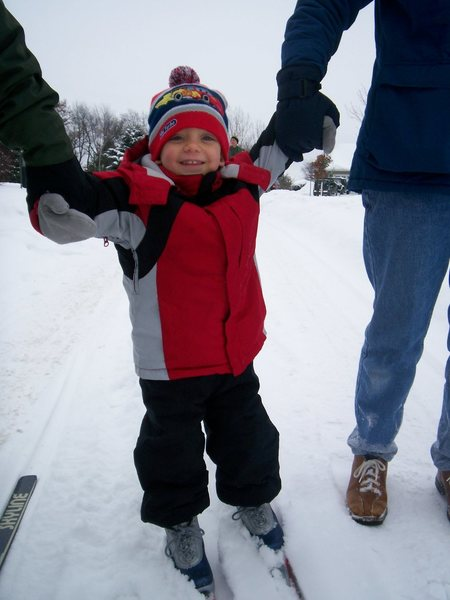 My son's first time skiing