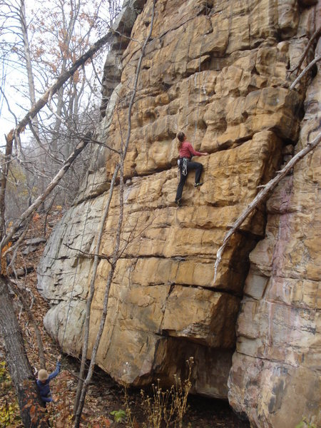 The face climbing variation with Wild Pink to the right