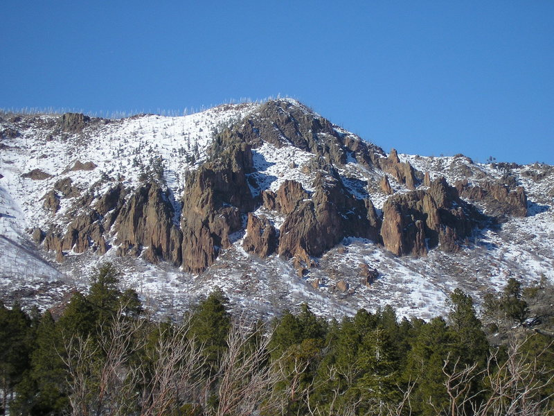 """Wintery conditions on The Elysian Buttress, Mt. Elden's """"premiere"""" multi pitch venue."""