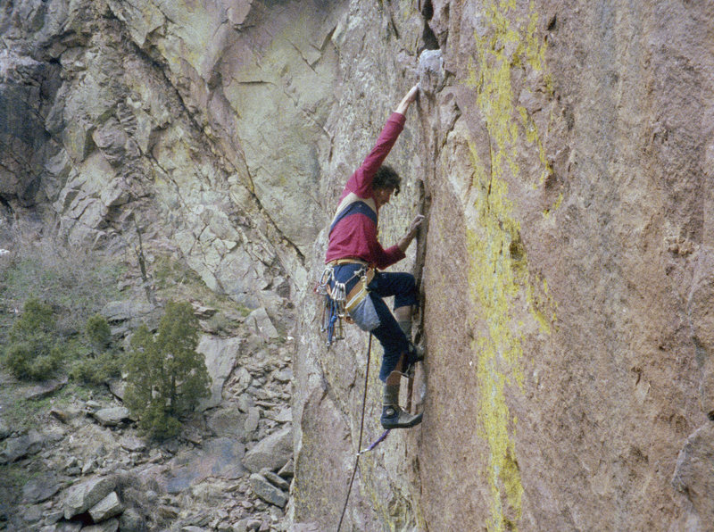 Derek on West Face, check out the shoes and gear.