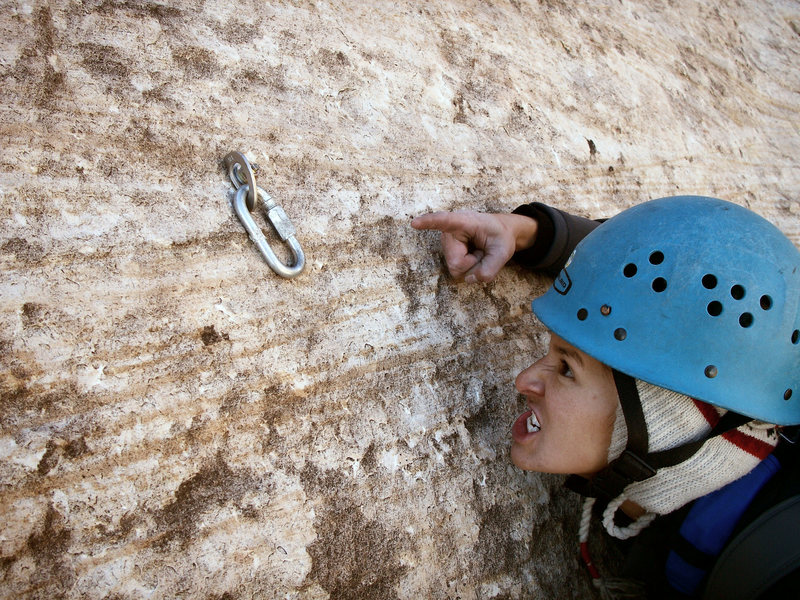 Oh the Humanity!!!!<br> <br> The outrageous bolt just above the 3rd pitch belay