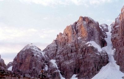 Cima Margherita and Cima Tosa in the Dolomiti di Brenta.  October 1977.