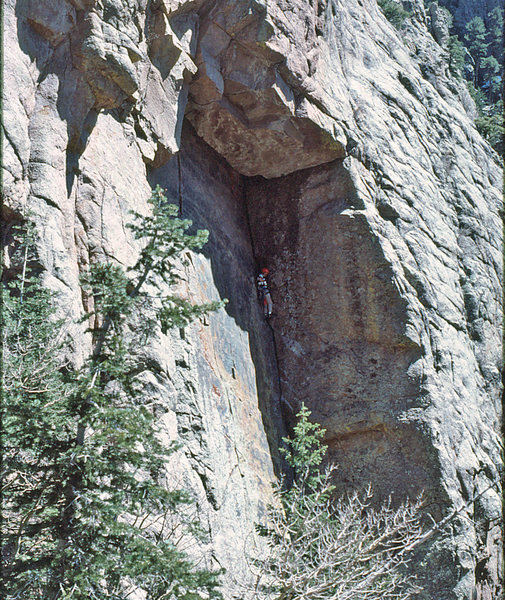 Dave Baltz on MBC, Turantula is crack climb on the face to the left