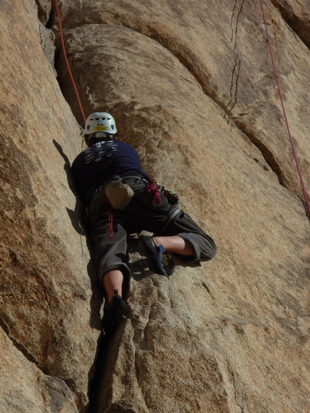 Me learning how to jam.  Great climb, stiff. December 2007.