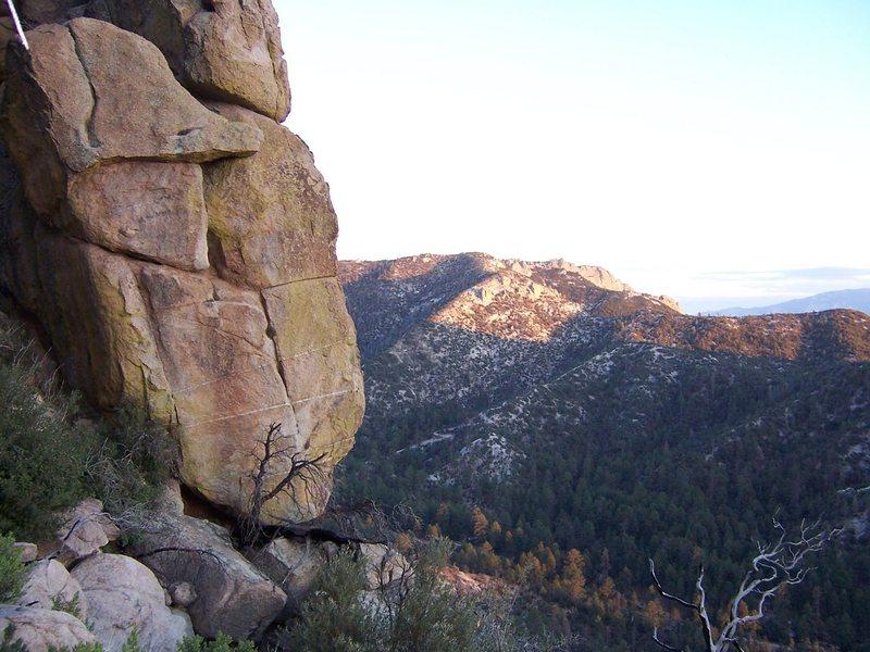 Peering out from behind Rock of No Name at Paradox Rock, Nov 2007.