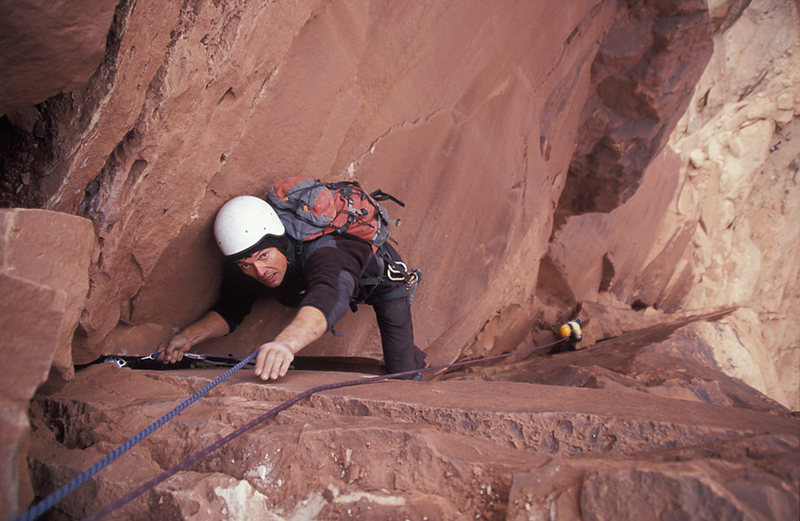 Pavel Kejla nearing the spacious belay ledge on top of the second pitch in classic B-Team style.