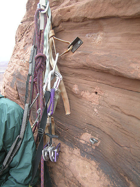"""An historical selection of anchors below the headwall.<br> <br> What's the deal with that """"anchor"""" on the bottom?"""