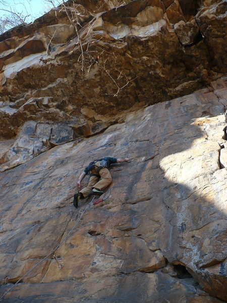 Bryan on House of the Rising Sun, 5.10d, T-Wall, TN.<br>