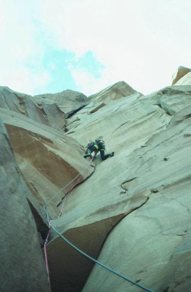 Primrose Dihedrals, Moses Tower, climber: Olaf photo:Steve Morris