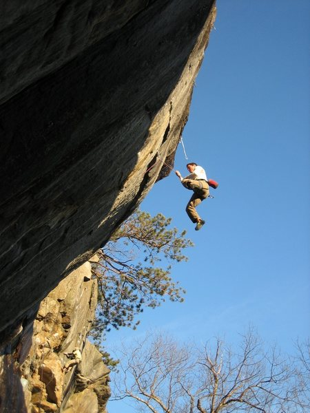 Strong Dan Kochis whips from the crux of China Beach.