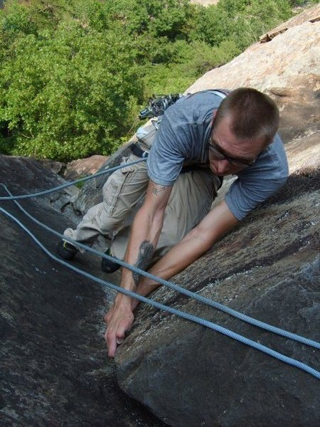 Layback on 2nd pitch. Led the route then had to rap and do it again after my partner couldn't remove a stuck piece.