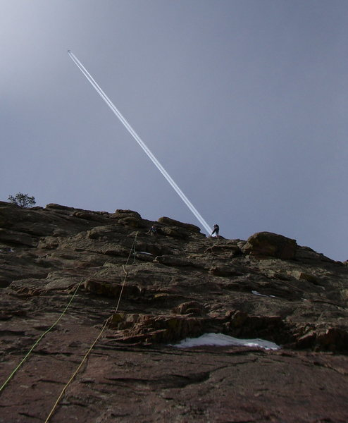 Percious cruising through the crux pitch.  <br> <br> Photo by Kateri Ahrendt.