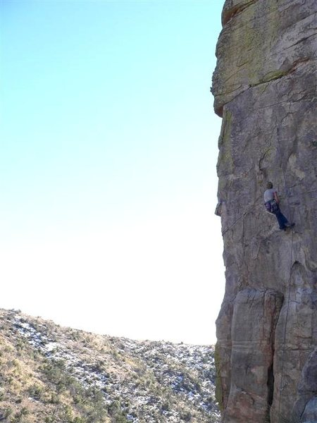 The north east face of the Control Tower. The arete is Sundance.  Josie has just taken a plunker on her on-sight attempt on Air-Worthy (12a).  What a tiger.  She got it next go.