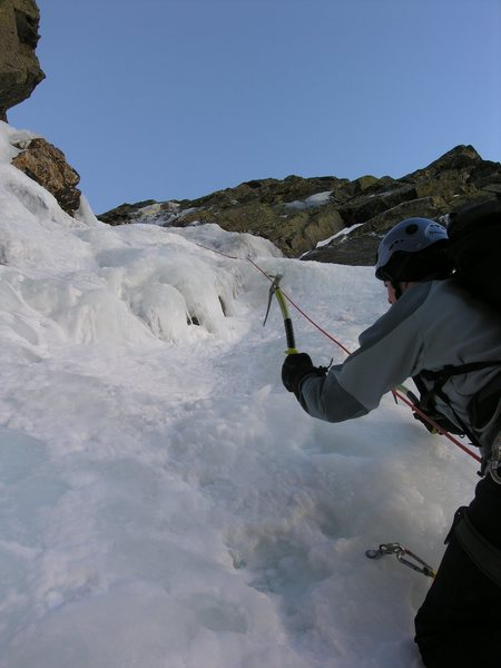 Following the first pitch of Pinnacle Gully (The pitch is not as steep as it appears.)  Photo by Arthur Kehas.