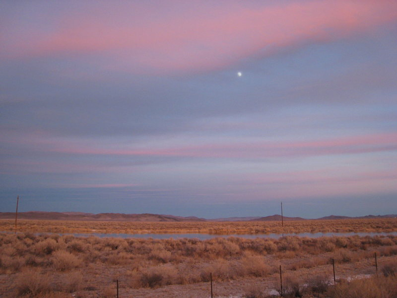 Moon over central Nevada somewhere on our way from Red Rocks back to my former home in Reno. <br> <br> Thanksgiving 2007