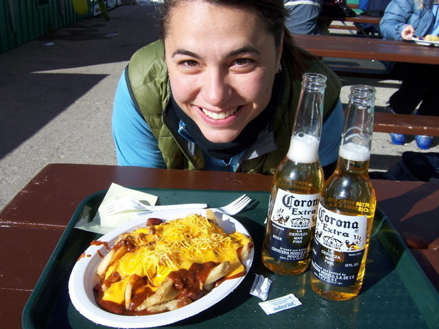 Me. A-Basin. Chili Fries. Skiing with my old roomie....     GREAT DAY!!!!!