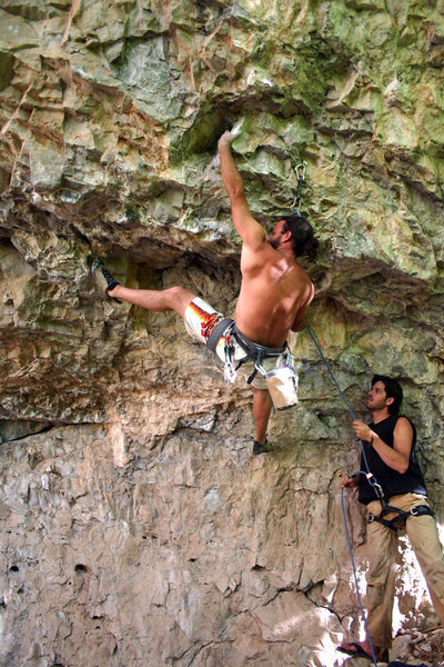 Mark Sellers on the starting moves. Keegan on Belay.<br> Photo: Dave Fiorucci July 4th, 2005
