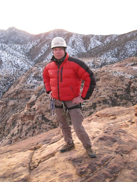 A cold day on the summit of Windy Peak