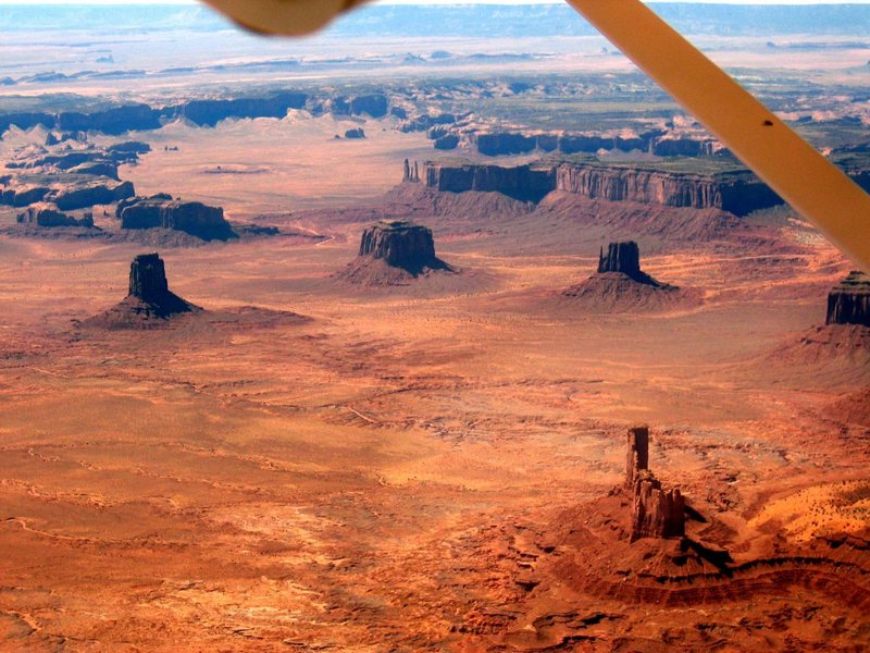 Towers of Monument Valley from 3,500 ft up.