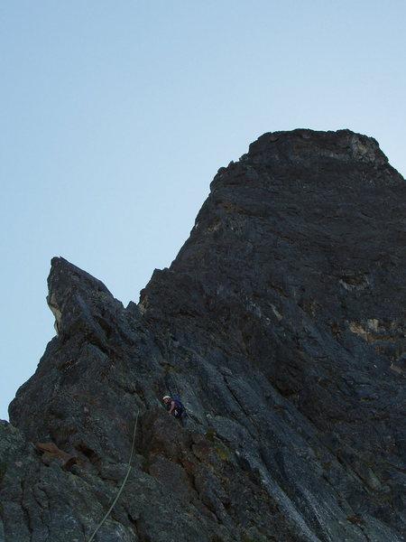 Below the summit ridge